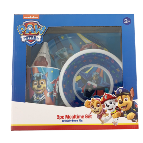 Paw Patrol Chase 3pce Set with Jelly Beans - Plate, Bowl & Cup